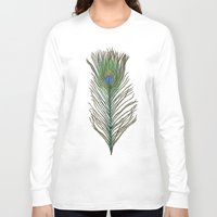 peacock feather Long Sleeve T-shirts featuring Peacock Feather by Sophie Wedd