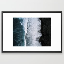 Aerial of a Black Sand Beach with Waves - Oceanscape Framed Art Print