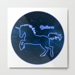 Blue Neon Unicorn in Starry Sky TEXT: BELIEVE Metal Print