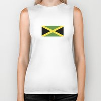 jamaica Biker Tanks featuring jamaica country flag  by tony tudor