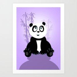 Panda Girl - Purple Art Print