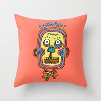 human Throw Pillows featuring Human  by PINT GRAPHICS