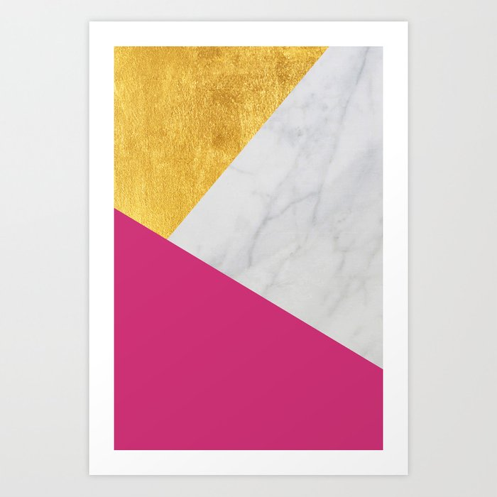 Carrara Marble With Gold And Pantone Pink Yarrow Color Art Print