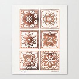 Talavera Mexican Tile – Rose Gold Palette Canvas Print