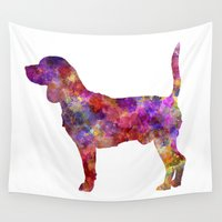 beagle Wall Tapestries featuring Beagle in watercolor by Paulrommer