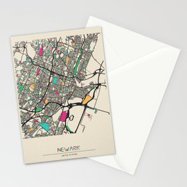 Colorful City Maps: Newark, New Jersey Stationery Cards