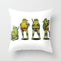 teenage mutant ninja turtles Throw Pillows featuring Teenage mutant ninja turtles by Nioko