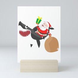 Santa Riding Shark, Shark lovers, shark gifts, christmas, christmas gifts, xmas, xmas gifts Mini Art Print