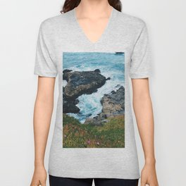 Standing on a Cliff Unisex V-Neck