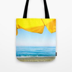 Yellow Beach Brolly with Blue Sea and Sky Tote Bag