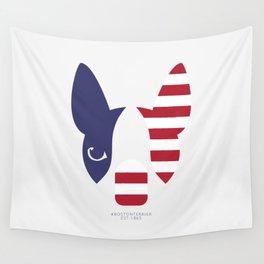 Boston Terrier: American Flag. Wall Tapestry