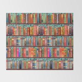 Vintage Books / Christmas bookshelf & holly wallpaper / holidays, holly, bookworm,  bibliophile Throw Blanket
