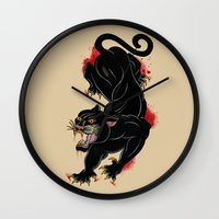 panther Wall Clocks featuring PANTHER by Magdalena Sky - The Moth