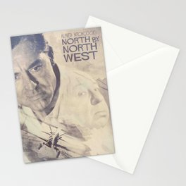 North by Northwest, Alfred Hitchcock, vintage movie poster, Cary Grant, minimalist Stationery Cards
