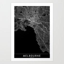 Melbourne Black Map Art Print