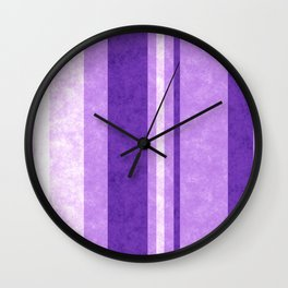 Retro Vintage Lilac Grunge Stripes Wall Clock
