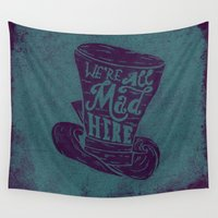 alice in wonderland Wall Tapestries featuring Alice in Wonderland by Drew Wallace