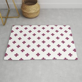 Purple Swiss Cross Pattern Rug