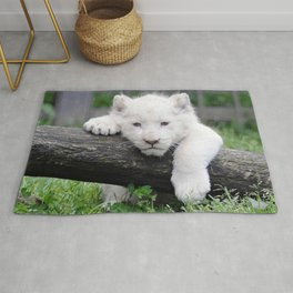 'Too Pooped to Pop' Baby Albino Lion Cub Rug