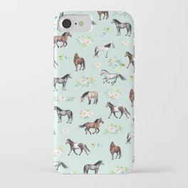 Floral Horse Pattern, Flowers and Horses, Hand Painted, Girl's Room, Romantic Blue Floral iPhone Case