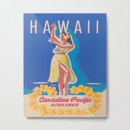 Hawaii Hula Girl Vintage Travel Poster Metal Print