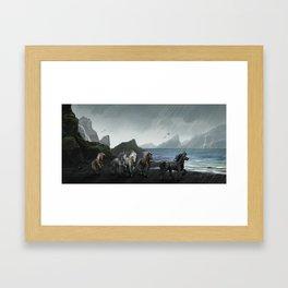 Shores of the black sand Framed Art Print
