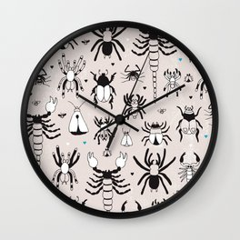 Creepy grunge insect and spider illustration pattern print Wall Clock