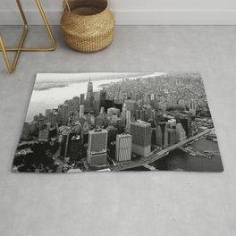 New York, NYC, Black & White (Manhattan, Brooklyn, Queens) Rug
