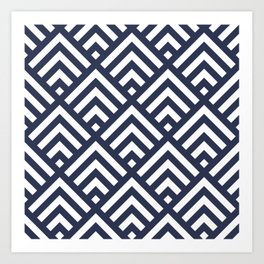 Navy Blue geometric art deco diamond pattern Art Print
