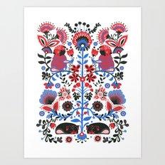 The Pug of Folk Art Print