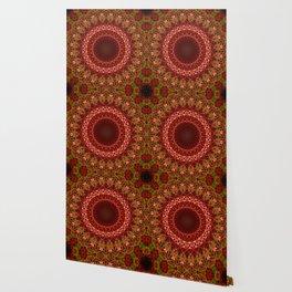 Detailed brown and red mandala Wallpaper