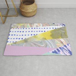 Modern geometrical pink navy blue yellow watercolor marble Rug