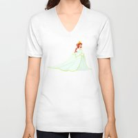 ariel V-neck T-shirts featuring Ariel by Delucienne Maekerr