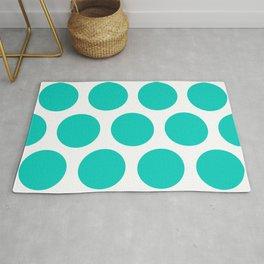 Large Polka Dots: Aqua Blue Rug
