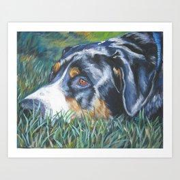 Greater Swiss Mountain Dog portrait art from an original painting by L.A.Shepard Art Print