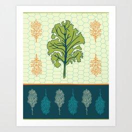 Tropical Paleo –Kale in Cream Art Print