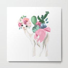 Cacti Llama Metal Print