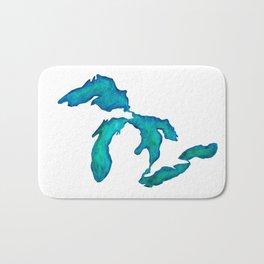 watercolor Great Lakes Bath Mat