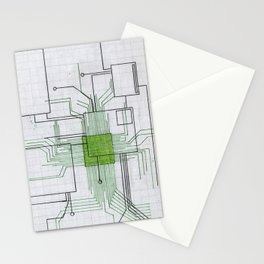Circuit board green Stationery Cards