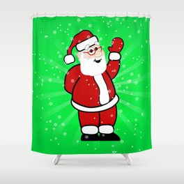 Christmas Santa in Red Suit Green Background Snow Shower Curtain