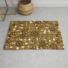 Steampunk Panel, Gears and Pipes - Brass Rug