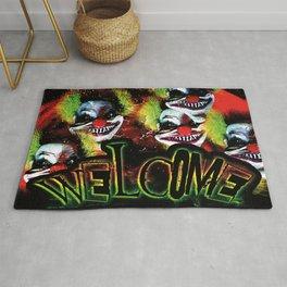 creepy halloween horror clown welcome Rug