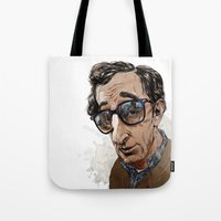 woody allen Tote Bags featuring Woody Allen by Mitt Roshin