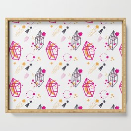 Modern hand painted pink black yellow geometrical space Serving Tray