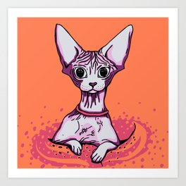 Sphynx Cat - Orange Background Art Print