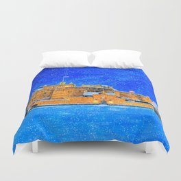 Edinburgh Castle In The Snow On A Winter Night Duvet Cover