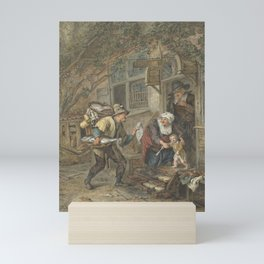 A fish seller offers a plaice to a schoolmaster and his family, Abraham van Strij (I), after Corneli Mini Art Print