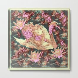 WHITE SWAN  GREY &  PINKISH  MODERN  DESIGN Metal Print