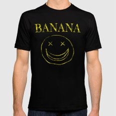 Banana Smile Black Mens Fitted Tee MEDIUM