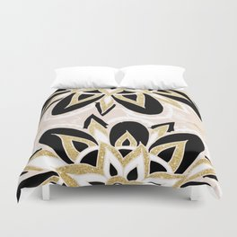 Modern black gold pink abstract floral pattern Duvet Cover
